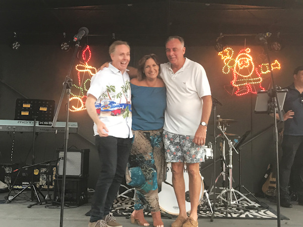 Darren, Ronda and Harry from Game of Tones at Burleigh Heads Christmas Carols 2019